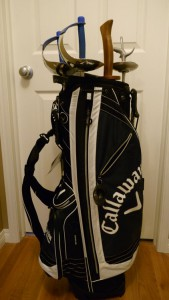 The golf bag I won from a golf tournament, with swords in it, because I have no golf clubs