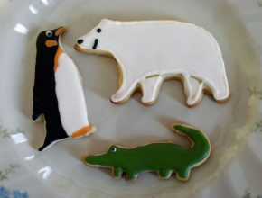 King penguin, polar bear and crocodile cookies