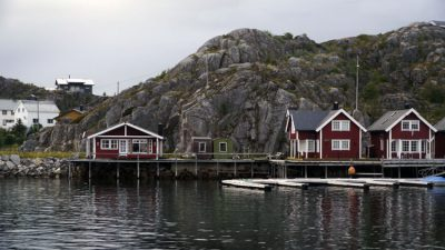 Rorbuer, little red fisherman cottages nestled in the rocks at Skrova