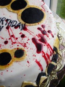 Blood dripping down the side of the cake