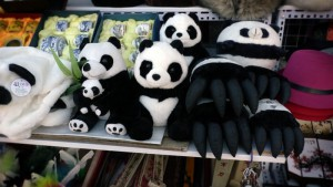 Panda souvenirs at a stall near the Great Wall Visitor Centre