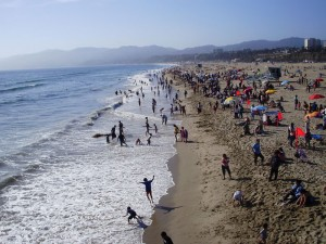 A view of the beach and its crowds