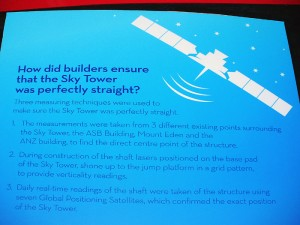 How did builders ensure that the Sky Tower was perfectly straight?